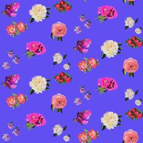 Painted Rose Garden on Blue by DulciArt,LLC