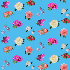 Painted Rose Garden on Turquoise by DulciArt,LLC