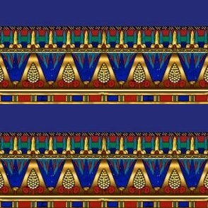 Egyptian Lotus Pattern Horizontal Stripe