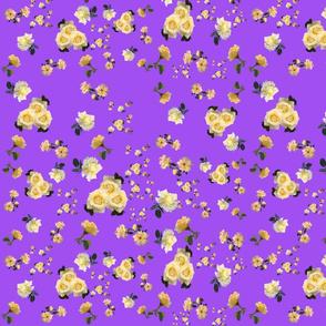 Yellow Roses on Purple by DulciArt,LLC