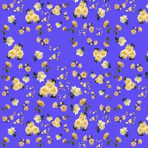 Yellow Roses on Blue by DulciArt, LLC
