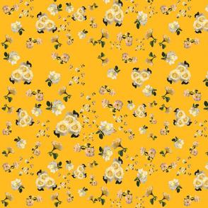 Yellow Roses on Goldenrod by DulciArt,LLC