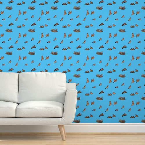 Phoebe Chicks On Turquoise By Dulciart Spoonflower