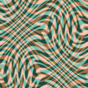 feather swirl in caramel, peach, forest and turquoise
