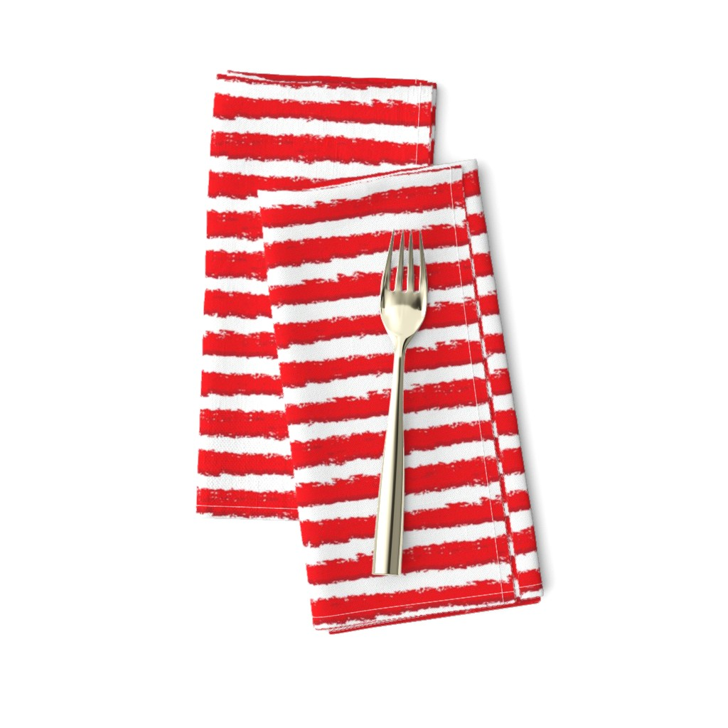 Amarela Dinner Napkins featuring Rough red and white stripes by small_happiness_designs
