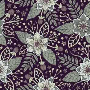 Pretty Purple & Sage Green Floral Pattern