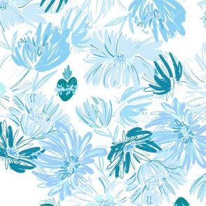 Immaculate Heart  Floral - Blue