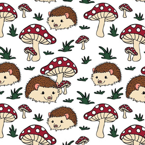 Seamless vector pattern with hedgehogs and mushrooms on white background. Perfect for kids apparel, fabric, textile, nursery decoration, wrapping.