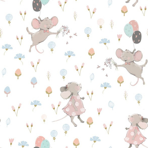 """18"""" Cute baby mouse girl and flowers, mouse fabric, mouse nursery on flower meadow"""