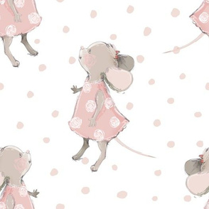 "10"" Cute baby mouse girl and flowers, mouse fabric, mouse nursery on pink polka dots"