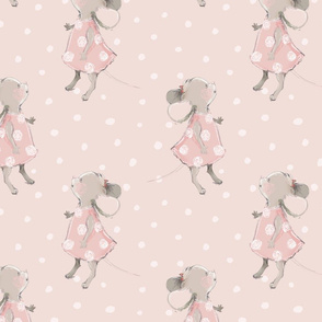 """10"""" Cute baby mouse girl and flowers, mouse fabric, mouse nursery on blush polkadots"""