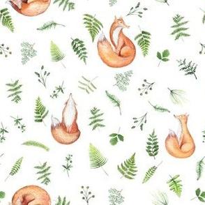 """6"""" Woodland Animals fox FABRIC - Fern Fabric- animals in forest fabric - fox fabric"""