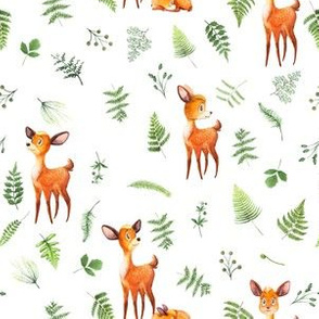 "6"" Woodland Animals Deer FABRIC - Fern Fabric- animals in forest fabric - deer fabric"