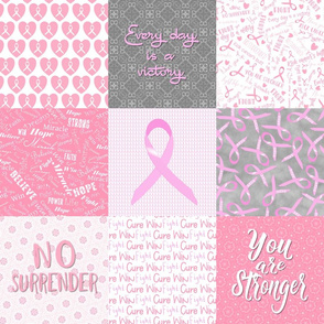 cancer cheater quilt 6 in squares pink