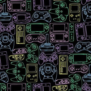 Video Game Controllers in Neon Colors Horizontal