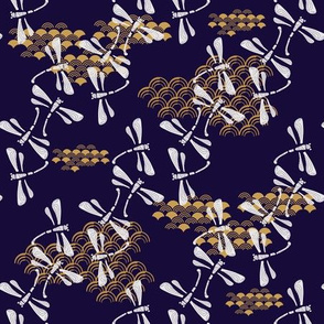 Japanese pattern with dragonfly