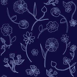 Hand-drawn Flowers Navy