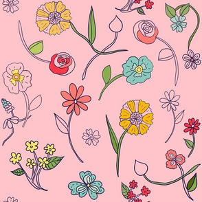 Hand-drawn Flowers Pink