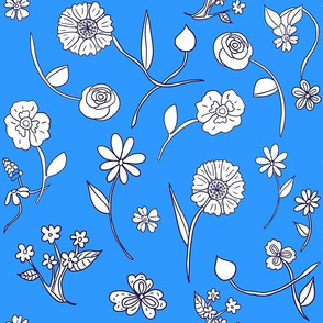 Hand Drawn Flowers Blue | White