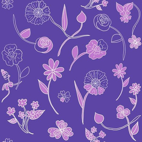Hand-Drawn Flowers Purple Dream