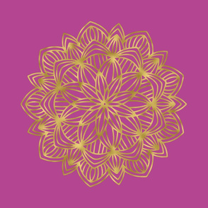 Gold Mandala on Lilac Pink