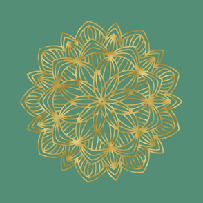 Faux Gold Mandala on Green