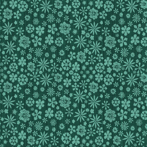 mint on forest green linen
