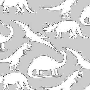 dinosaurs in white on grey