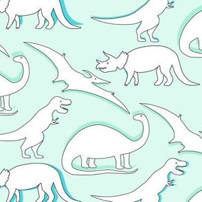 dinos! black and white on mint
