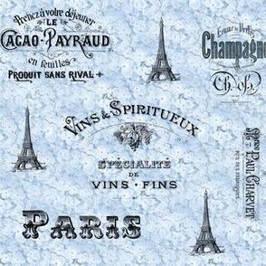 Paris Wine Labels Blue Hydrangeas