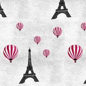 retro eiffel tower and hot-air balloons on grey texture