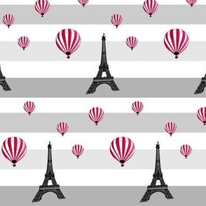 hot-air balloons flying around eiffel tower - grey stripes