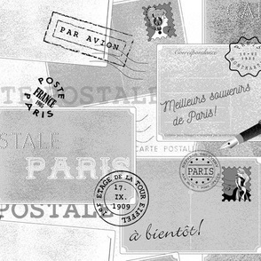 vintage postcards from paris - black and white