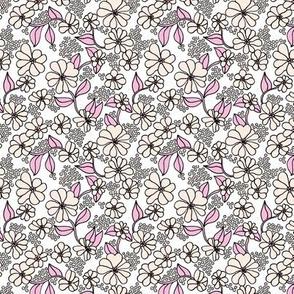 Retro flower blossom daisy love botanical garden branch soft pastel peach pink SMALL