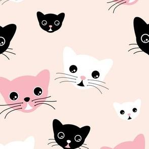 Hello little kitten sweet cat kawaii illustration design pink black white