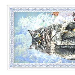 Winter Animal Portrait of a Siberian Cat  in a fur coat.