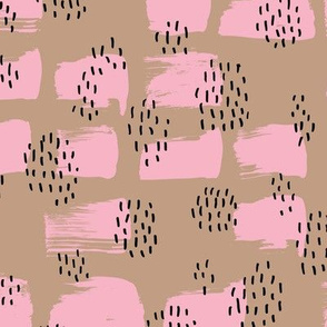 Minimal rain drops and inky brush spots  abstract dashes fall beige pink