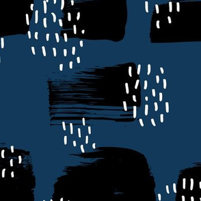 Minimal rain drops and inky brush spots  abstract dashes navy fall winter blue black white JUMBO