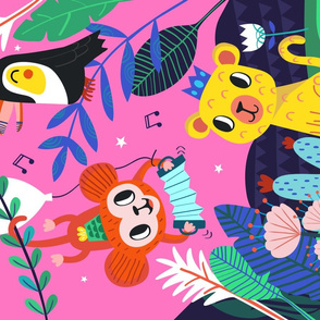 Jungle Jamboree Pink Tea towel