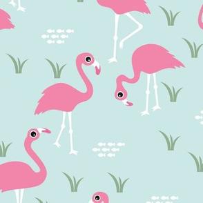 Little Flamingo summer sea beach theme illustration mint green pink