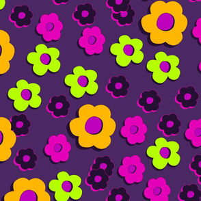 Daisies in the dark - purple and orange