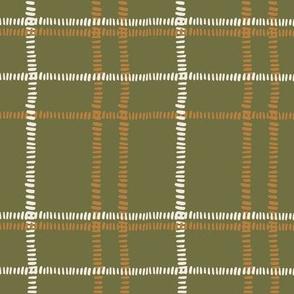 plaid stitches-olive