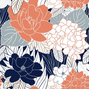 Stencil Floral in Terracotta and Navy
