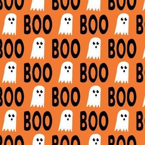 Boo - Ghost - Halloween fabric - orange - LAD19