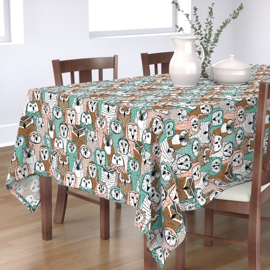 Bantam Rectangular Tablecloth featuring owls limited by scrummy