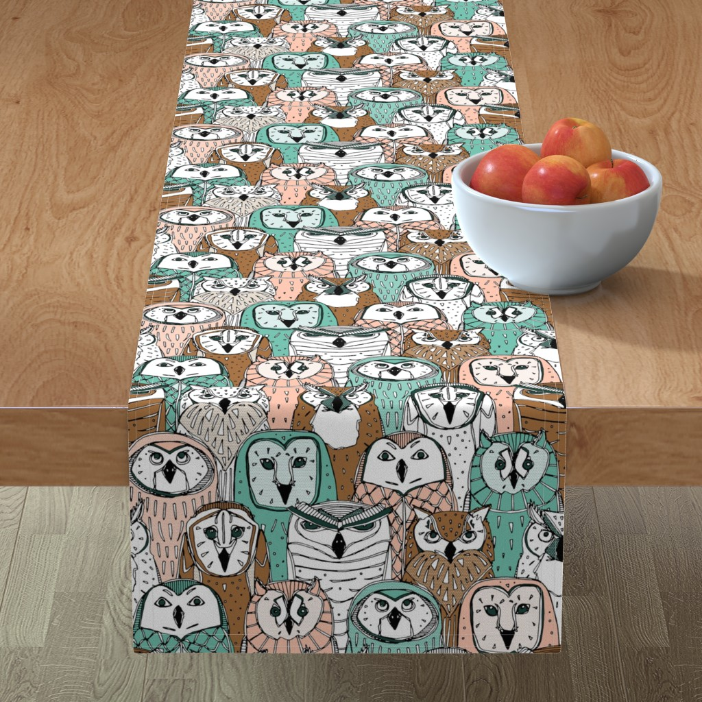 Minorca Table Runner featuring owls limited by scrummy