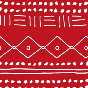 Minimal western mudcloth bohemian mayan abstract love aztec design christmas winter red white JUMBO