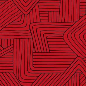 Little Maze stripes minimal Scandinavian grid style trend abstract geometric print Christmas lumber jack red black