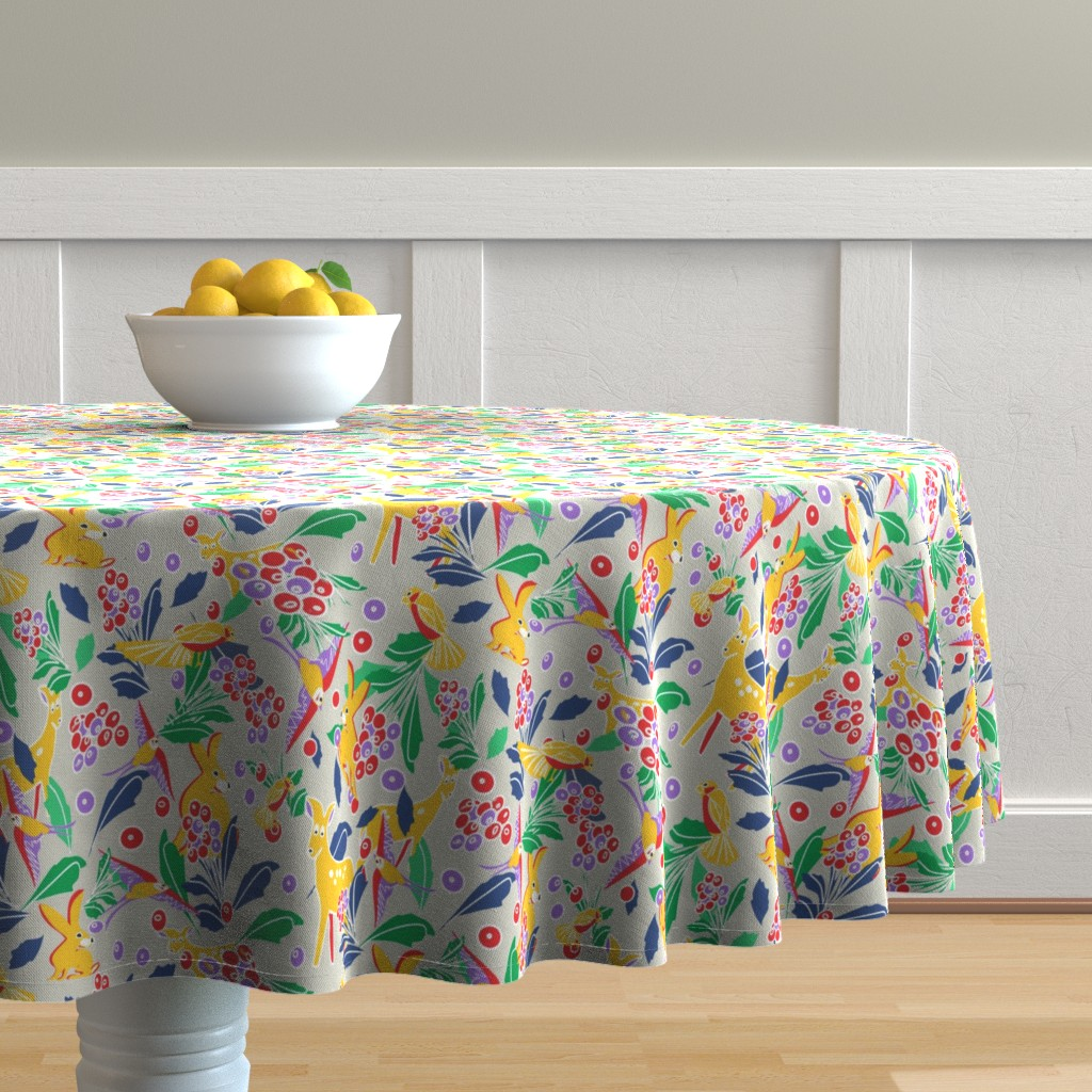 Malay Round Tablecloth featuring Berry dreams in gray by lorloves_design