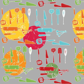 Kitchen Utensils Repeated Pattern